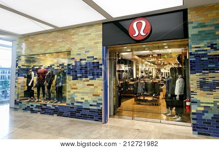 Boston October 28 2017: Entrance to a Lululemon store inside Prudential Center in Boston.