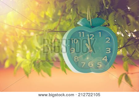 Time Management Concept : Alarm clock hanging on green branches tree at outdoor garden. (Soft focus)