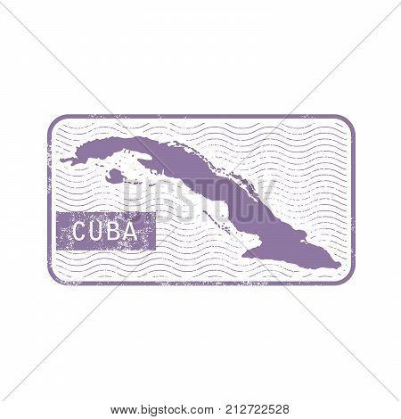 Stamp with contour of map of Cuba - contour of Cuba