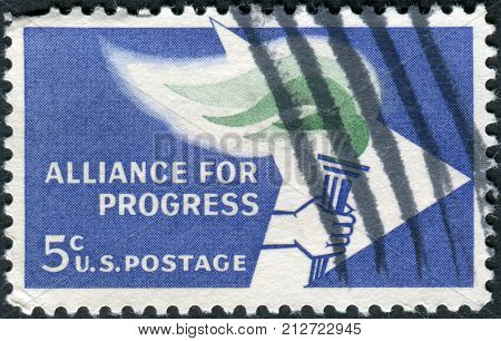 Usa - Circa 1963: Postage Stamp Printed In Usa, Is Dedicated To 2Nd Anniv. Of The Alliance For Progr