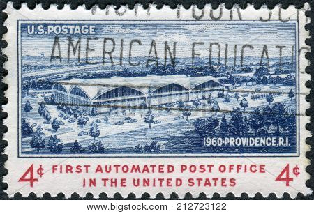 Usa - Circa 1960: Postage Stamp Printed In Usa, Dedicated To The Opening Of The 1St Automated Post O