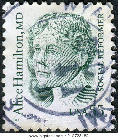 Usa - Circa 1995: Postage Stamp Printed In Usa, Shows Alice Hamilton, A Social Reformer And Physicia