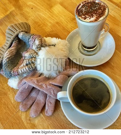 Hot drinks, gloves and a beany to warm up a cold winters day