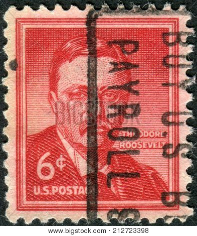 Usa - Circa 1955: Postage Stamp Printed In The Usa, A Portrait Of 26Th President Of The United State