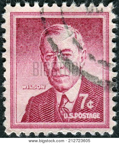 Usa - Circa 1956: Postage Stamp Printed In Usa, Shows A Portrait Of 28Th President Of The United Sta