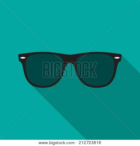 Sunglasses icon with long shadow. Flat design style. Sunglasses simple silhouette. Modern minimalist icon in stylish colors. Web site page and mobile app design vector element.
