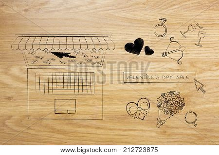 Valentines Day Symbols And Search Bar Next To Laptop With Reduced Price Tags