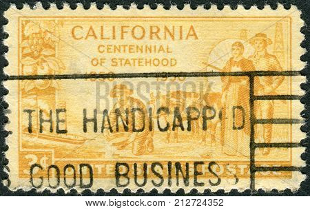 Usa - Circa 1950: Postage Stamp Printed In Usa, Is Dedicated To California Statehood Centenary, Show