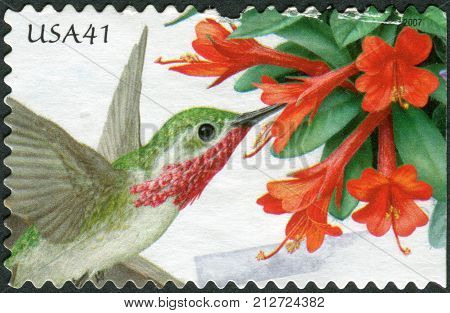 Usa - Circa 2007: Postage Stamp Printed In Usa, Shows Hummingbird Trumpet Flower And Bird Calliope H