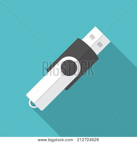 USB flash drive icon with long shadow. Flat design style. USB flash drive simple silhouette. Modern minimalist icon in stylish colors. Web site page and mobile app design vector element.