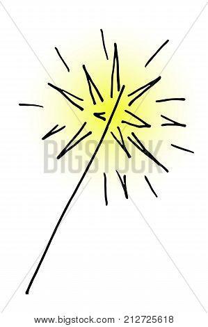 Doodle Hand Drawn Vector Burning Christmas Sparkler