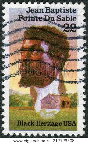 Usa - Circa 1987: Postage Stamp Printed In Usa, Shows A Pioneer Trader, Founder Of Chicago, Jean Bap