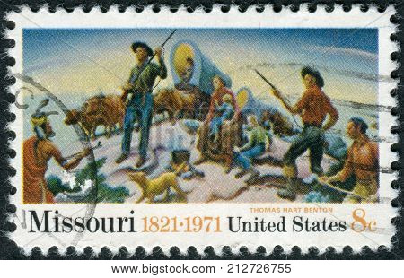 Usa - Circa 1971: Postage Stamp Printed In Usa, Missouri Sesquicentennial Issue, Shows A Detail Of