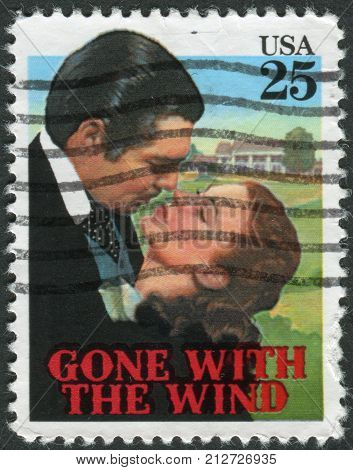 "Usa - Circa 1990: Postage Stamp Printed In Usa, Shows A Scene From The Movie ""gone With The Wind"", C"