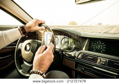 Adult Male Texting While Driving