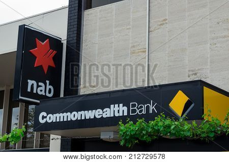 Ararat Australia - October 21 2017: the Commonwealth Bank and National Australia Bank are the largest and fourth largest banks in Australia. These branches are in Ararat.