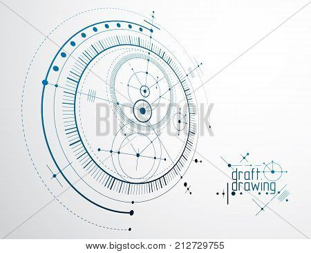 Mechanical engineering technology vector abstract background cybernetic abstraction with innovative industrial schemes.