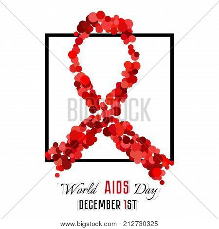 Shape of red ribbon from red bloody blobs in black frame on white background. World AIDS day in December 1. Vector illustration