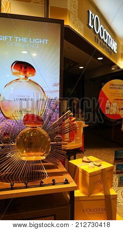 Sydney Australia - November 03 2017: L'Occitane store entrance display. L'Occitane brand is an international retailer of body face fragrances and home products based in France.