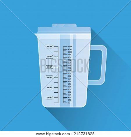 Kitchen measuring cup. Flat design. Vector illustration. Cooking utensil. Kitchen stuff.