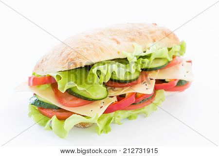 Ciabatta Sandwich with cheese isolated on white background