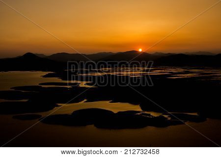 Beautiful sunset scenery of Suncheon Bay, Suncheon city, Jeollanam-do
