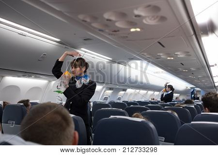 Safety Briefing On Board An Aircraft