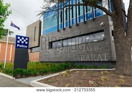 Ararat Australia - October 21 2017: Victoria Police is the state police force in Victoria. This is the police station in Ararat in western Victoria.