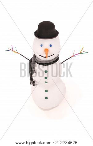 White snowman with scarf and hat bowler. On white background.
