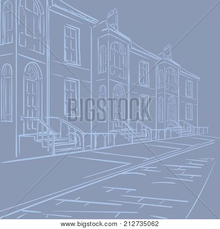 Streets of London. Typical london victorian terraced street panorama. EPS8 vector illustration.