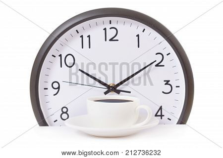 time for a coffee break during work with coffee cup and clock at ten o clock isolated on white