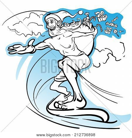 Careless slim Santa surfing the wave and loosing the gifts from his huge sack. EPS8 vector illustration.