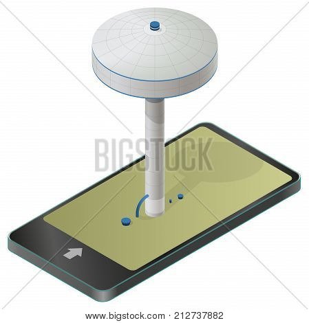 Water reservoir isometric building on column. Big water reservoir on pillar in mobile phone. Water supply resource in communication technology. Vector pictogram, industrial chemistry cleaner set.