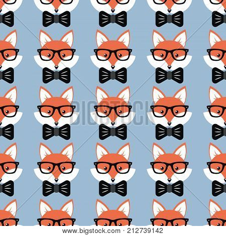 Cute cartoon foxes, Vector seamless pattern with foxes faces in glasses and bow-ties