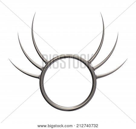 metal ring with prickles on white background - 3d illustration