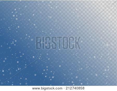 Seamless Vector White Snowfall Effect On Blue Transparent Horizontal Background. Overlay Snow Flake