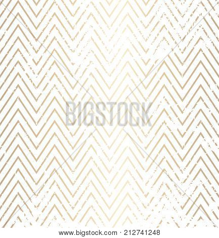 Trendy Simple Zig Zag Golden Distressed Geometric Pattern On White Background, Vector Illustration.