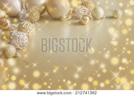 Gold Festive Christmas background. Christmas ball golden background. Christmas decoration.