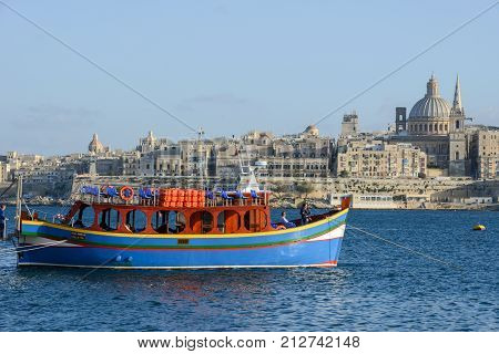 La Valletta Malta - 2 Novembre 2017: View of Valletta the capital city of Malta