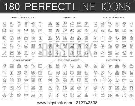 180 modern thin line icons set of legal, law and justice, insurance, banking finance, cyber security, economics market, e commerce isolated.