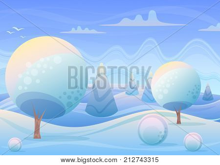 Vector illustration of cartoon Winter landscape in sunrise with trees and hills