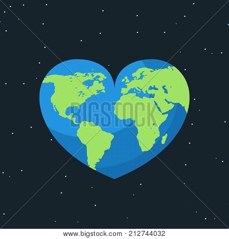 Earth map on heart. World day concept. Earth day. Love the earth. Vector stock.