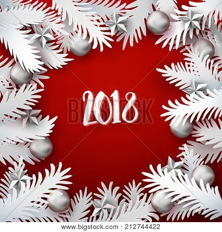 Christmas and New Year red colored background with white paper art cut out fir tree branches decorated balls and stars. Xmas Vector illustration. Card, banner, poster. Material applique 2018