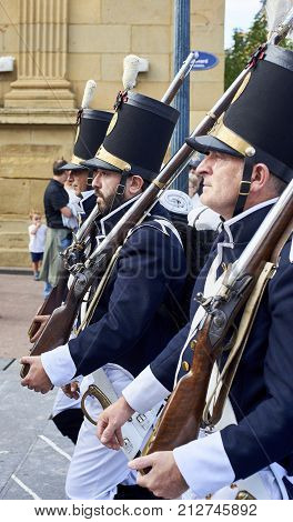 Soldiers Marching In Tamborrada Of San Sebastian. Basque Country, Spain.