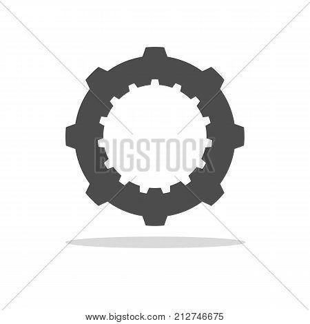 Cogwheel on white background. Mechanical symbol illustration