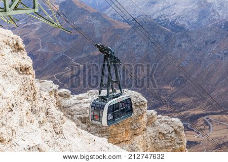 SASS PORDOI ITALY. OCTOBER 29 2017. Cabin cable car Sass Pordoi Dolomites Italy Europe.