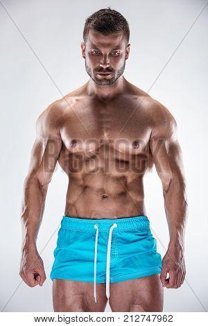 Man Bodybuilder Showing Muscular Body