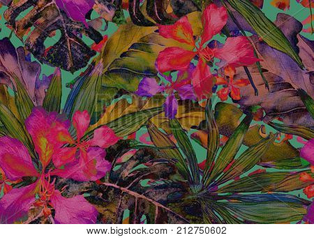 Tropical pattern. Watercolor thailand palm, monstera, hibiscus, banana tree. Exotic swimwear design. Horizontal summer hawaiian pattern. Aloha textile repeated print. Watercolour summer illustration. poster