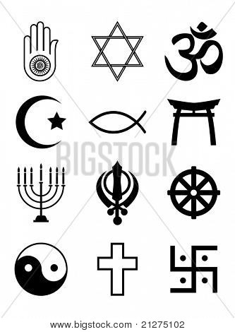 A set of Religious symbols. Black silhouettes isolated on white. EPS10 vector format.