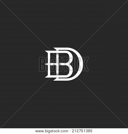 Letters Bd Logo Monogram, Hipster Mark For Wedding Invitation, Overlapping Linked Letters B And D, D